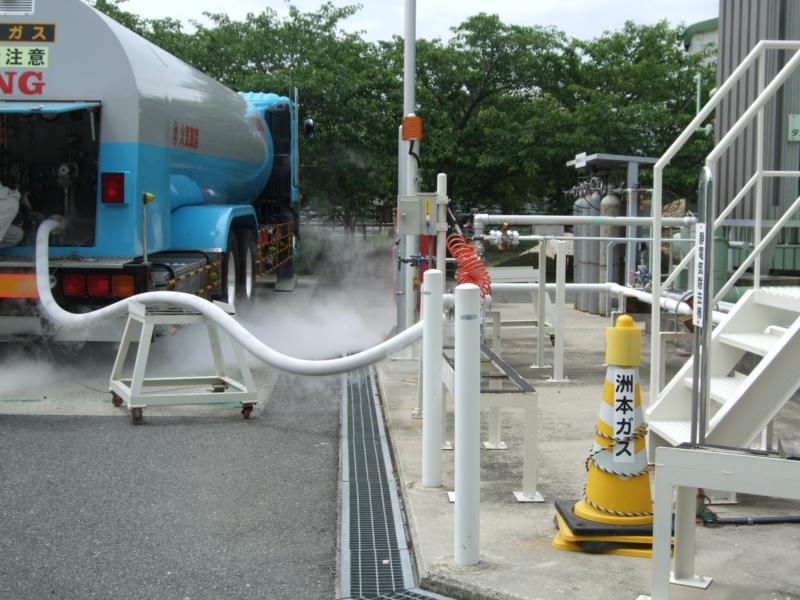 液化天然ガス(LNG) ローリー受入作業